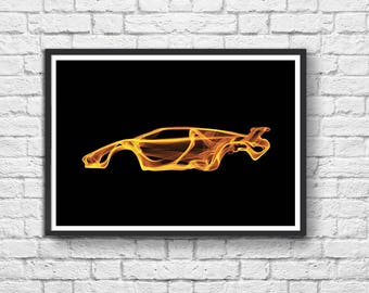 Art-Poster 50 x 70 cm Limited Edition 50 ex. - Lamborghini Countach Smokey Design