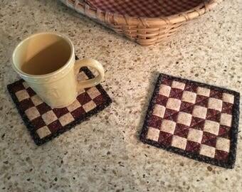 Checkerboard Mug Rugs / Quilted Mug Rugs /Handmade / Country Decor / Farmhouse Decor / Item #2122