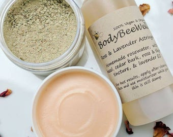 Organic 3-Step Skincare System, Cleansing Grains, Rose/Lavender Astringent, Lavender & Rosehip Anti-Aging Face Cream, Cruelty-Free Beauty!