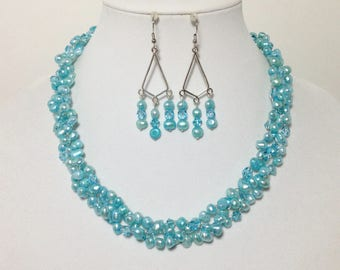 Teal Blue Cultured Pearl, Swarovski Turquoise Crystal, Czech Glass, Non-Tarnish Silver Plated Wire, Wire Crochet, Necklace, Earrings