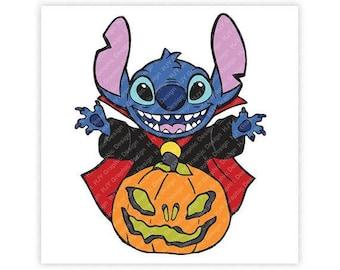 Disney, Halloween, Stitch, Dracula, Vampire, Jack-O-Lantern, Pumpkin, Illustration, TShirt Design, Cut File, svg, pdf, eps, png, dxf