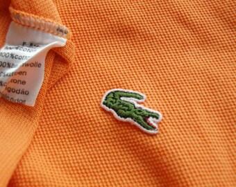 Ogange LACOSTE Polo shirt Size 14, Vintage Lacoste 100% Cotton light orange color 2 buttons fitting shape Lacoste logo excellent