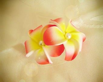 Red hair barrette clip double plumeria flower