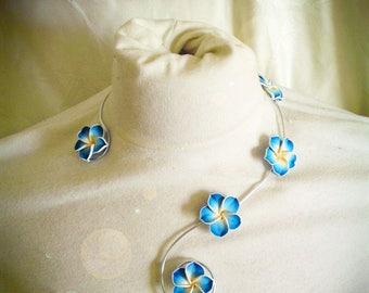aluminum and customize frangipani flowers necklace