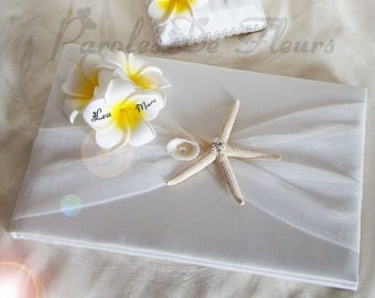Guest book with plumeria flowers artificial customize sea theme