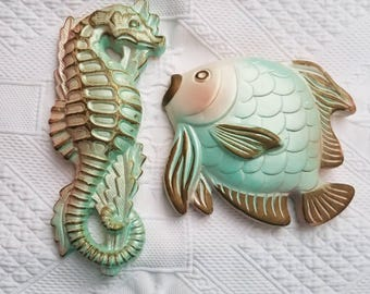 Vintage 1967 MILLER STUDIO Fish and Seahorse wall decor