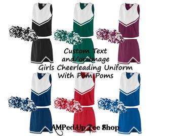 Custom Girls/Youth Cheerleader Uniform with Pom Pom, Cheerleader Outfit, Cheerleading Uniform, Cheerleading Outfit, Cheerleading Shirt