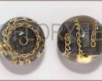 2 beads 20Mm resin black and transparent with gold chain inlay