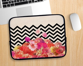 Chevron Flora Laptop Sleeve