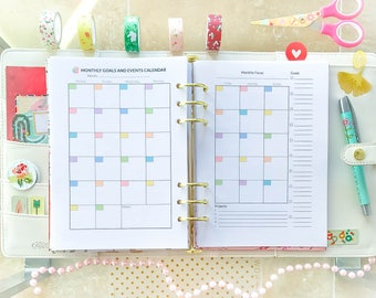 Monthly Planner Printable Half Page Planner 8.5 x 5.5 Letter Insert Half Size  To Do List Monthly Goals Filofax Inserts INSTANT DOWNLOAD PDF