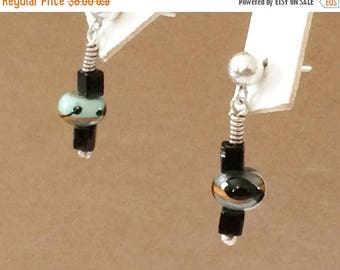 33% Off Christmas in July Sterling Silver Black Glass And Multicolored Glass Earrings