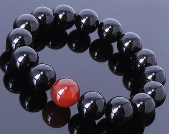 ON SALE NOW Men's Gemstone Elastic Bracelet 14mm Black Onyx 14mm Red Agate DiyNotion Br078