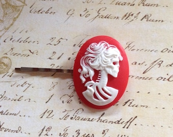 Red and White She Skull Hair Clip