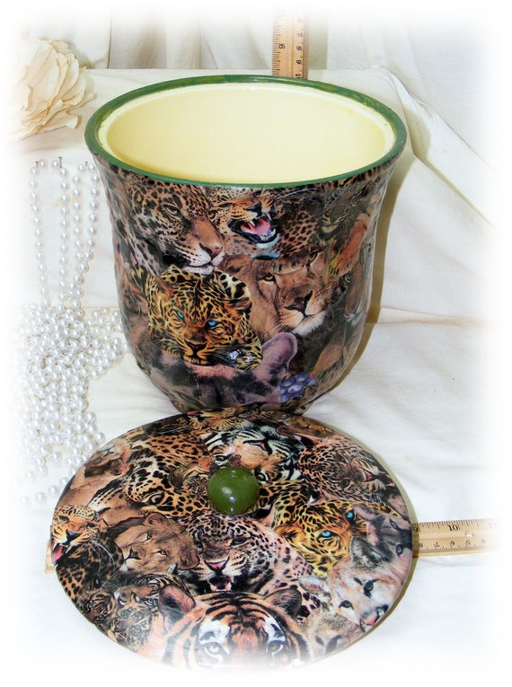 Large Jungle Cat COOKIE JAR . . custom decoupage