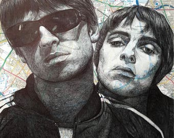 Oasis: Liam and Noel Gallagher A4 portrait. Map Manchester .