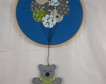 Tableau016 - Blue Teddy bear wall hanging from balloons
