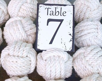 Nautical Wedding  cotton Rope 6 Table Number Holders for your Nautical Wedding Monkey Fist Rope Knots (w1)