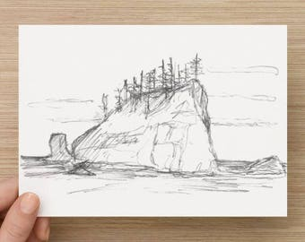 Pencil Sketch of Seastack near 2nd Beach in Olympic National Park