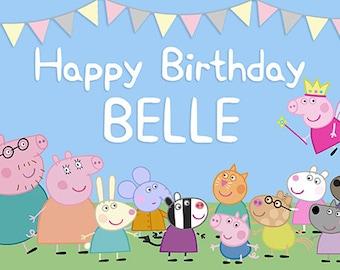 Peppa Pig Birthday Banner (friends)