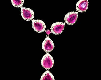 Beautiful Sterling Silver Necklace with Pear Shaped Rubies & Baby Diamonds