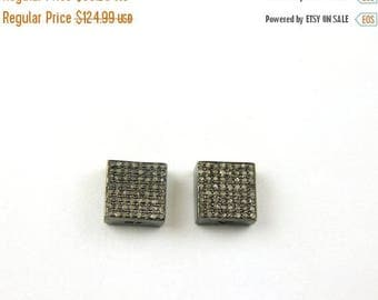 Fathers Day Sale Memorial Day 1 Pc Pave Diamond Square Shape Antique Finish Designer Beads 925 Sterling Silver - 10mm PDC336