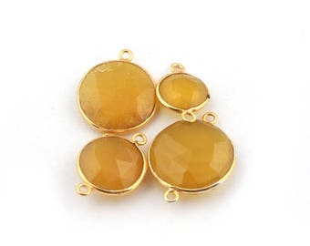 Xmas  in July 4 PCS Yellow Chalcedony Round 24k Gold  Plated Double Bail Connector - Yellow Chalcedony Connector 18mmx12mm-25mmx19mm Bc-454