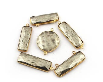 Xmas  in July 6 Pcs Natural Pyrite 24k Gold Plated Assorted Shape Connector Pendant -  28mmx21mm-37mmx11mm BC-546