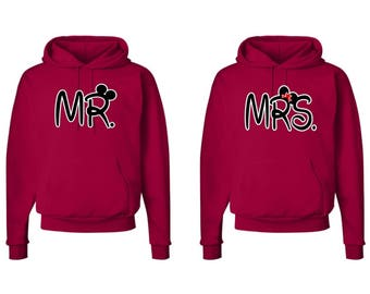 Mr. and Mrs. Bride and Groom Couple Hoodies  Mr. and Mrs. Shirt Couples Hoodie Sweaters Mr and Mrs