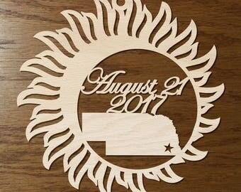 Nebraska Solar Eclipse  ornament wood cut decoration. Laser cut Total Solar Eclipse ornament Path of Totality through Nebraska