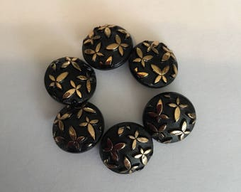 Glass Vintage Buttons- 6 Black and Gold