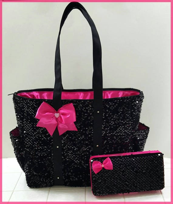 black sequin diaper bag tote matching wipe case set hot. Black Bedroom Furniture Sets. Home Design Ideas