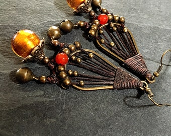 Bronze and carnelian earrings 3 inches long