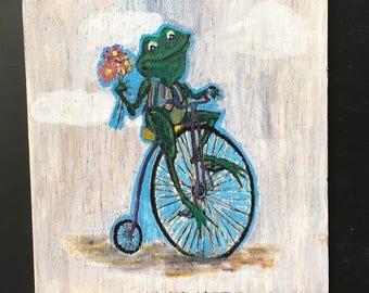Frog Art Plaque-yard art-mailbox decor-blue-flower yard, Frog yard, Frog welcome sign, Frog adress sign