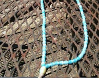 Light blue and silver Mala prayer bead necklace