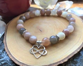 Womens Stone Bracelet - Healing Stone Bracelet - Heart - Sunstones - Gemstone Bracelet - Valentines Gift - Womens Gift - Anxiety Bracelet