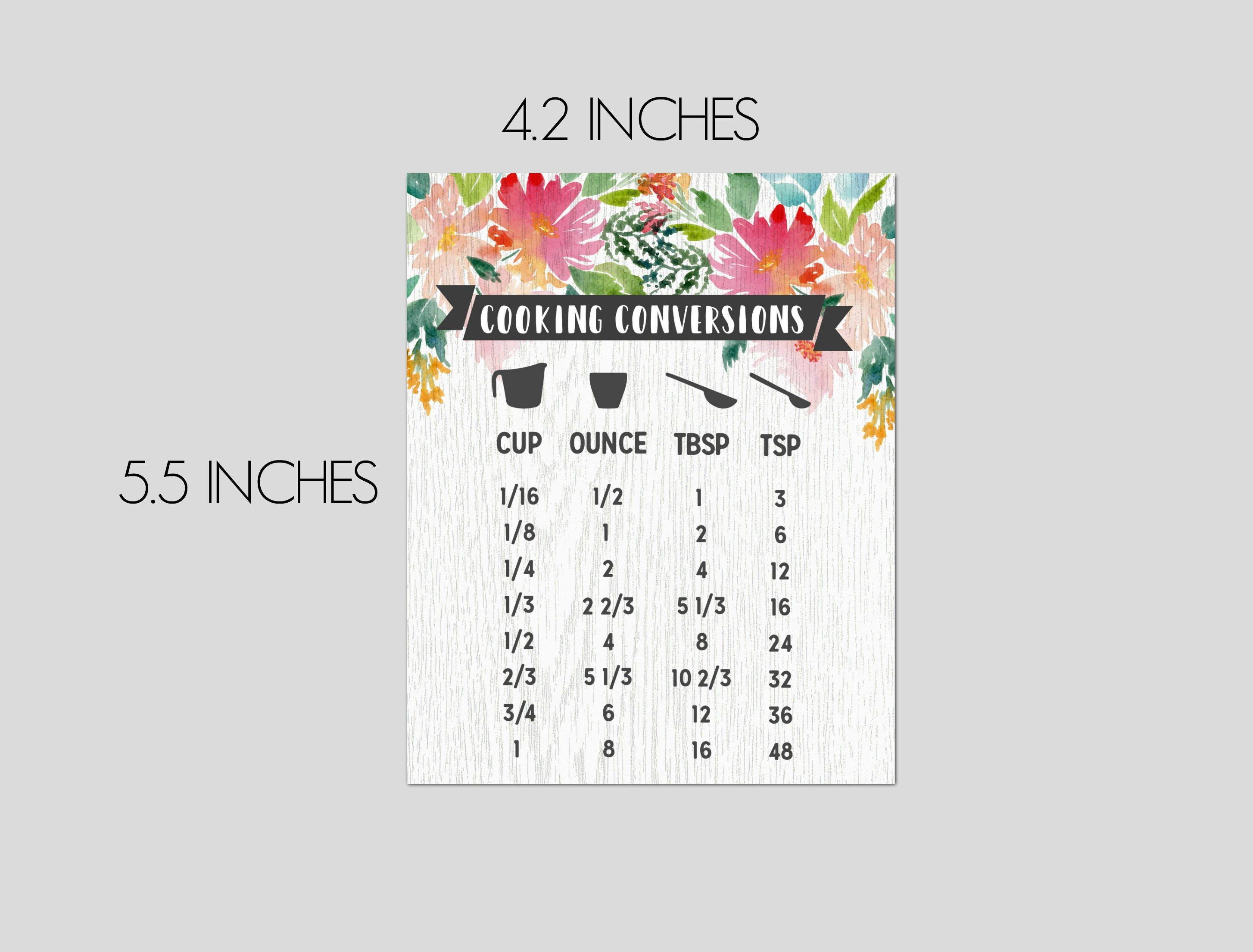 Cooking Conversion Chart | Rustic Wood & Watercolor Floral | Baking ...