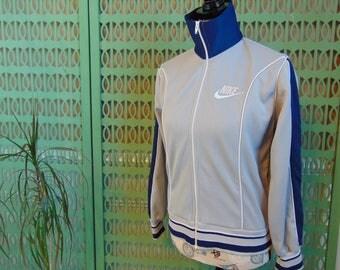 80s Nike Track Jacket Vintage Nike Tracksuit Top with Turtleneck and Pockets Orange Label Nike Jacket, Womens Tracksuits High Neck Medium