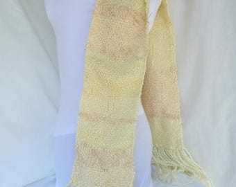 Handwoven Ivory Scarf in Blend of Mostly Wool and Acrylic Yarns
