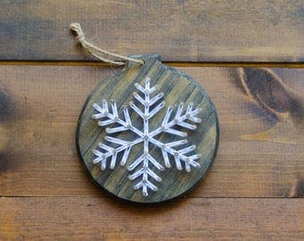 Snowflake Ornament - String Art - Wood Ornaments - Farmhouse Christmas - Rustic Christmas - Country Christmas - Christmas Ornament