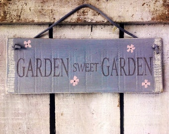 garden sign. garden decor. wood sign. garden sweet garden. handpainted rustic wooden sign. gardening gift. cottage garden sign.