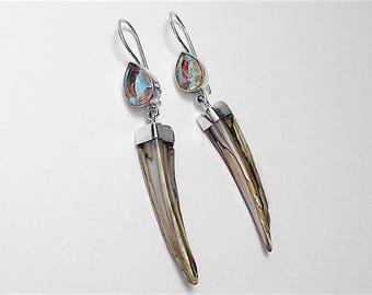 925 Sterling Silver Mystic Opal Biwa Pearl Earrings