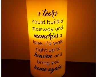 In Loving Memory Candle, Personalised Remembrance LED Candle, Memorial Candle, Custom Made Candle, In Memory Quotes, Heaven Quotes, Candles