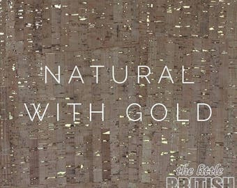 Cork Fabric - Natural with Gold, UK Supplier, Cork Leather, Vegan Leather