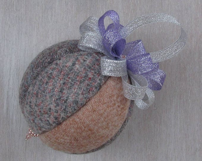 Harris Tweed Soft Lilac & Silver Christmas Tree Bauble   #140