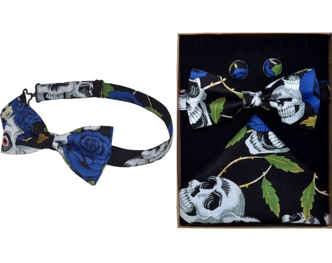 Blue and Black Skulls and Roses Bow Tie & Boxed Set
