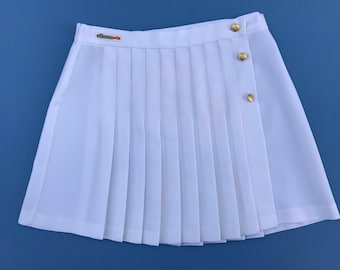 Vintage 1980's Ellesse Classic Tennis Skirt Wrap Around, White With Gold Button's, Golf Skirt ~ Mini Skirt ~ Size 12 ~ Perfect Condition