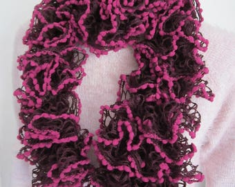 Fuchsia and purple ruffled scarf
