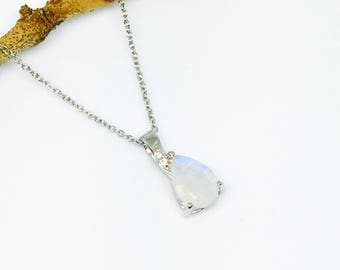 Faceted Rainbow Moonstone Pendant, necklaces set in sterling silver 925. Length- .85 inch long. Natural teardrop rainbow moonstone.