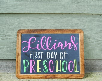 PERSONALIZED Hand Lettered First/Last Day of School Framed Chalkboard Sign Double Sided