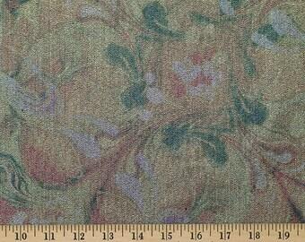 Printed metallic denim fabric by the yard, floral metallic denim fabric, metallic denim, floral denim, apparel metallic denim yardage
